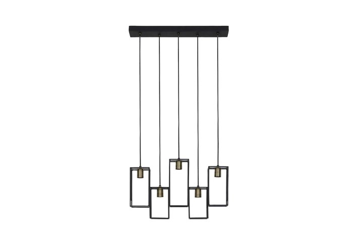 Light Living Hanging lamp 5L 60x15x57 cm MARLEY matt black-antiq bronze