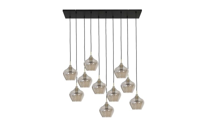 Light en Living Light & Living Hanging lamp 10L 124x35x60 cm RAKEL antique brass+smoke