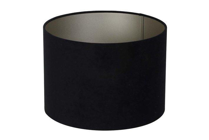 Light en Living Light & Living Kap cilinder velours 18-25-25 zinc zwart taupe