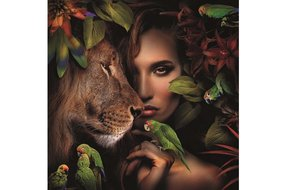AluArt Woman with lion and parrots 120X120