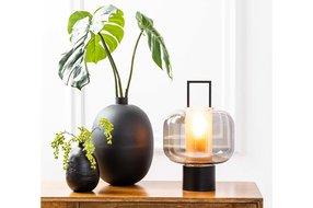 Light en Living Light & Living Table lamp Ø23x36 cm ARTUROS glass smoke+matted black