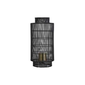 Light & Living Tafellamp lantaarn Ø24x52 cm GRUARO draad zwart-antiek brons