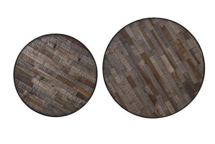 Light en Living Light & living Bijzettafel S/2 Ø48x47+Ø54x52 cm PUICO mix hout-d.bruin