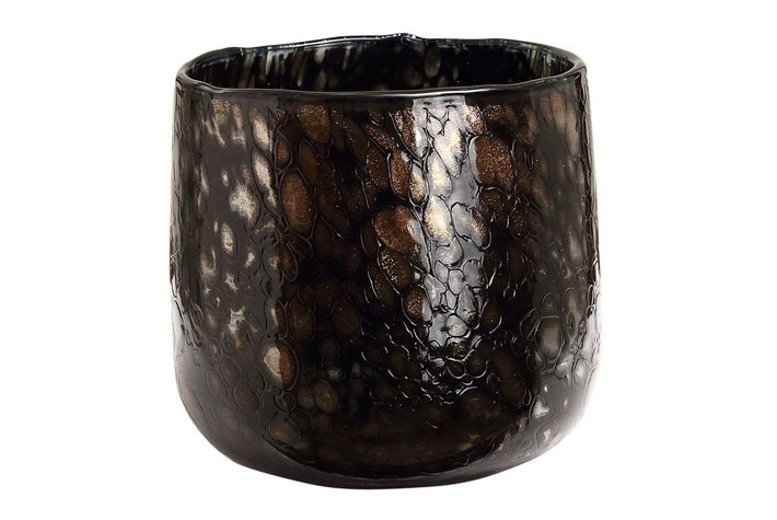 PTMD Tortoise Black with gold glass tealight round S