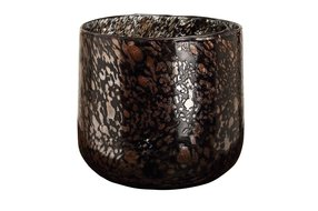PTMD Tortoise Black with gold glass tealight round L 699372