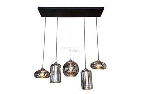Hanglamp timeless 5 lichts ceiling plate 120-30cm zwart