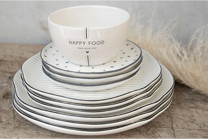 Bastion Collections Bastion Bowl White/Happy Food in Black Dia 13x7cm