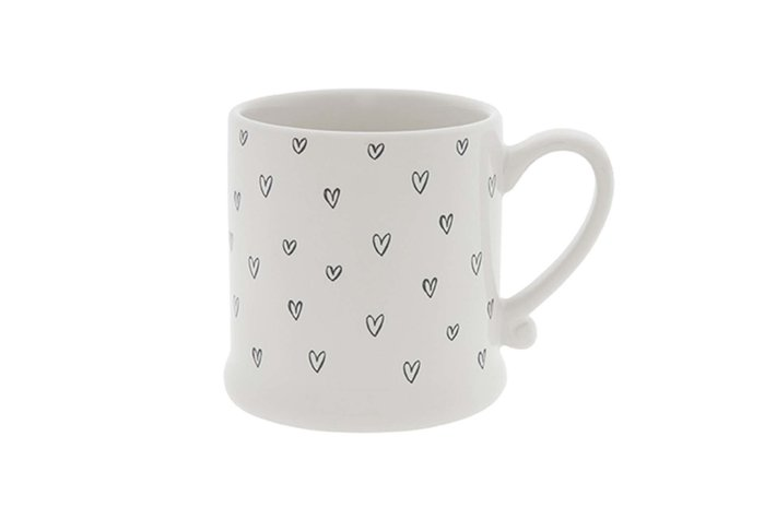 Bastion Collections Bastion Mug White/Hearts overall in Black  8x7cm