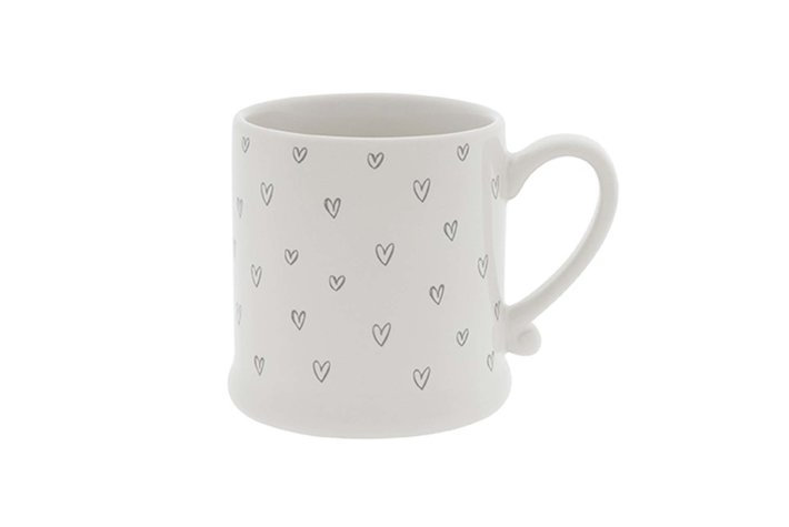 Bastion Collections Bastion Mug White/Hearts overall in Grey 8x7cm