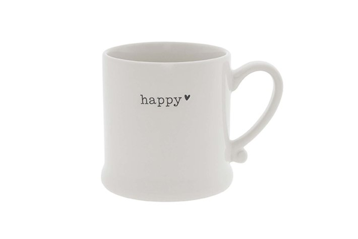 Bastion Collections Bastion Mug White/Happy in Black 8x7cm