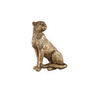 PTMD Leopard Gold poly sitting leopard statue