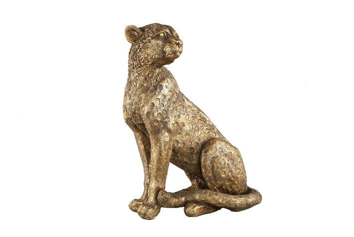 PTMD PTMD Leopard Gold poly sitting leopard statue