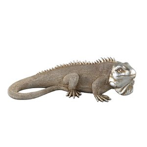 PTMD Lizard Silver antique poly lying lizard statue