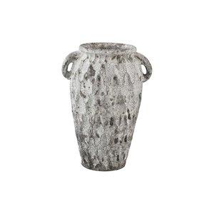 PTMD Antonis Grey ceramic jar ears pattern round S