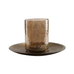 PTMD Jazzy Brass alu candleplate with glass stormlightS
