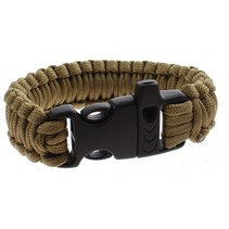 Paracord survivalarmband met fluit 23 cm bruin