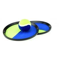 Vangbalspel met klittenband blauw/geel 20 cm