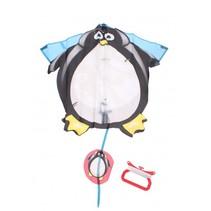 vlieger Pinguin 68.5 x 66.5 cm wit/zwart