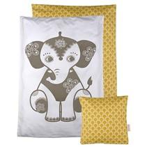 poppendeken Elephant grijs/okergeel 40 x 35 cm
