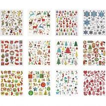 Stickerboek kerstmis 12 vellen 15,5 x 15 cm 584 stuks