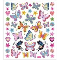 stickervel bloemen en vlinder 16,5 x 15 cm 21 stuks