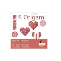 origami Hartjes vouwen 15 x 15 cm 20 stuks rood