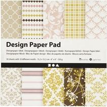 designpapier blok roze/goud 15,2 cm 50 vellen