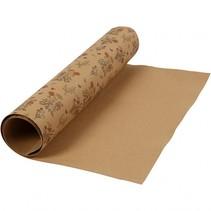 leerpapier bloemen bruin 1 m