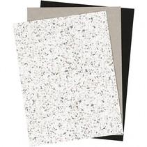 leerpapier wit/ bruin/ zwart 3 stuks