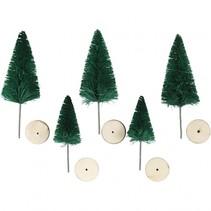 miniatuur kerstbomen 5 stuks 4 - 6 cm groen