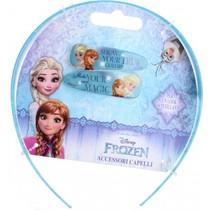 diadeem met speldjes Frozen 3-delig blauw