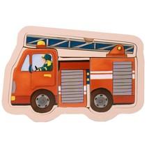 vormenpuzzel brandweer hout 5 stukken 15 x 9,5 cm
