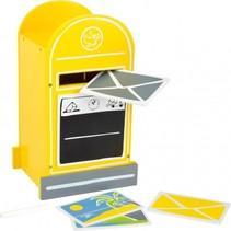 houten brievenbus geel 18 x 15 x 30 cm