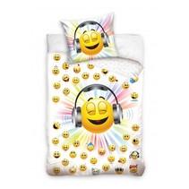 dekbedovertrek Music Smiley 140 x 200 cm wit/geel