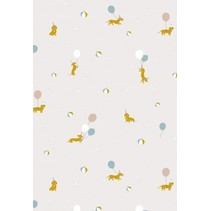 behang Magic Dogs wit 1000 x 53 cm