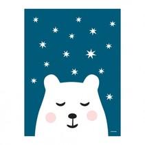 poster ijsbeer 30 x 40 cm blauw/wit