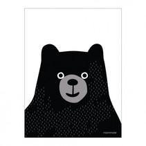 poster meneer beer close 30 x 40 cm wit/zwart