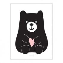 poster meneer beer 30 x 40 cm wit/zwart