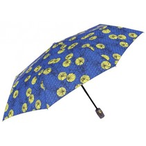 paraplu Bloem opvouwbaar 96/54 cm dames blauw/geel