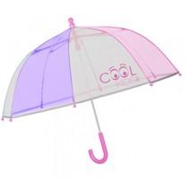 paraplu Cool Kids 64/60 cm junior transparant/roze