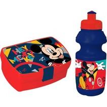 lunchset Mickey Mouse broodtrommel met beker blauw/rood