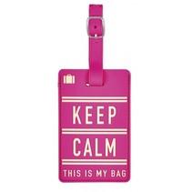 kofferlabel Keep Calm 11 x 7 cm roze