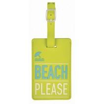 kofferlabel Beach Please 11 x 7 cm groen