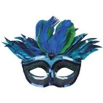 oogmasker veren dames blauw
