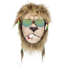 gezichtsmasker rasta-leeuw met haar en bril