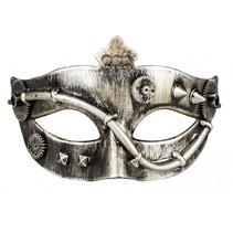 oogmasker Steamtube unisex grijs/goud