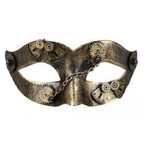 oogmasker Gearpunk unisex zwart/goud