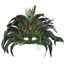 verkleedmasker Peacock Queen dames groen one size