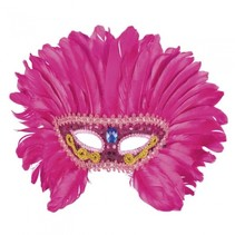 verkleedmasker Flamingo Queen dames roze one size