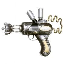 Pistool steamgun 25 cm zilver/goud
